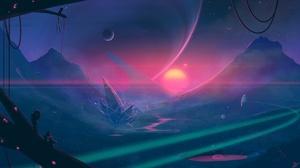 Moon Mountain Spaceship Exploration 2560x1440 Wallpaper