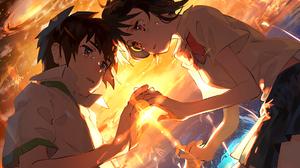 Girl Kimi No Na Wa Mitsuha Miyamizu Taki Tachibana 2108x1524 Wallpaper