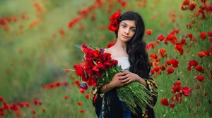 Summer Girl Bouquet Poppy Red Flower Long Hair Black Hair 2000x1331 Wallpaper