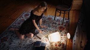 Women Model Brunette Indoors Portrait On The Floor Carpets Chair Lamp Books Reading Dress Bare Shoul 1920x1080 Wallpaper