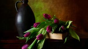 Book Flower Pitcher Purple Still Life Tulip 1920x1080 Wallpaper