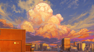 Artwork City Sky Clouds 1920x1080 Wallpaper