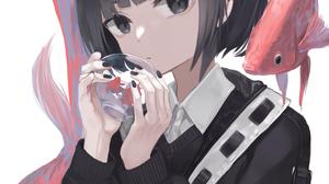 Anime Anime Girls Digital Art Artwork 2D Portrait Display Vertical Ogami Ren Short Hair Black Hair B 1268x1800 Wallpaper