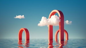 3D Render Artwork Sky Clouds Landscape Abstract Geometry Arch Sea Water Blue Red 5000x2813 Wallpaper