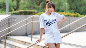 Asian Model Women Long Hair Dark Hair Hair Knot Baseball Shirt Railings Leaning Depth Of Field Bushe 1920x1280 Wallpaper