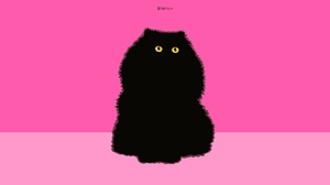 Artistic Digital Art Minimalist Persian Cat Pink 3427x2284 wallpaper