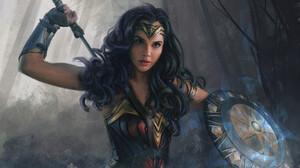 Mandy Jurgens Digital Art Drawing Artwork Wonder Woman Gal Gadot DC Comics Sword Shield Diana 3000x2121 Wallpaper