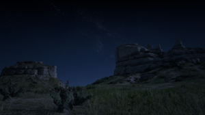 Red Dead Redemption 2 Night Moonlight Nature Landscape Spoilers Screen Shot Cliff Stars Foliage 1920x1080 Wallpaper