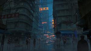 Rutger Van De Steeg Digital Art Futuristic Futuristic City Cyberpunk City Concept Art Hong Kong Scie 3840x1762 Wallpaper