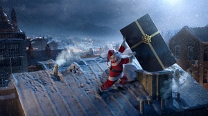 Christmas City Funny Gift Night Santa Winter 1920x1100 Wallpaper