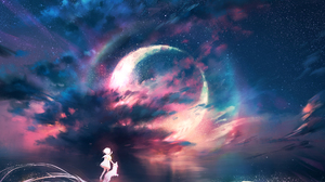 Cloud Dog Fantasy Girl Planet Starry Sky 2025x1350 Wallpaper