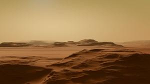 3D Desert Render Nature Dirt Mars Landscape Sunlight Dunes Sand Hills Mist 3840x2160 Wallpaper