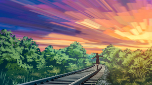 Girl Original Anime Railroad Sunset 2800x1800 Wallpaper