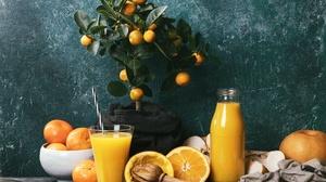 Orange Fruit Drink Still Life Mandarin 5845x4081 Wallpaper