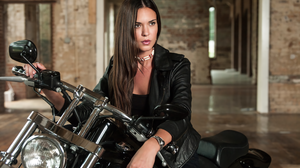Banshee Nola Longshadow Odette Annable TV Series Motorcycle Women Actress Leather Jackets Long Hair  2664x1700 wallpaper