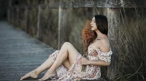 Women Model Dark Hair Women Outdoors Outdoors Barefoot Closed Eyes Dress Summer Dress Legs 2000x1335 Wallpaper