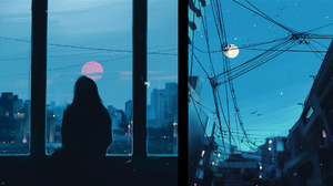 Aenami City Wires Power Lines Window Silhouette Building Digital Digital Art Digital Painting Artwor 1920x1080 Wallpaper
