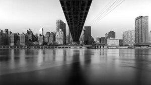 Black Amp White Bridge Building City New York Queensboro Bridge River Skyscraper Usa 2048x1152 Wallpaper