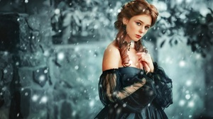 Black Dress Brown Eyes Earrings Girl Redhead Snowfall Winter Woman 1920x1200 Wallpaper