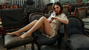 Ilya Dushutin Women Brunette Short Hair Looking At Viewer Dress Smiling Legs Barefoot Chair Indoors  2000x1333 Wallpaper