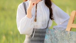 Asian Model Women Long Hair Dark Hair Depth Of Field White Blouse Skirt Grass Field Painting Brush 2560x3840 Wallpaper