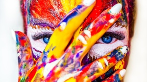 Blue Eyes Close Up Colorful Colors Face Girl Hand Paint Woman 4896x3264 Wallpaper