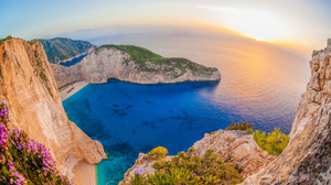 Beach Greece Horizon Navagio Beach Ocean Rock Sea Zaykanthos 3840x2400 wallpaper