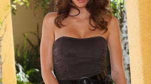 Model Women Brunette Blue Eyes Dress Hips Legs Bare Shoulders 1279x1920 Wallpaper