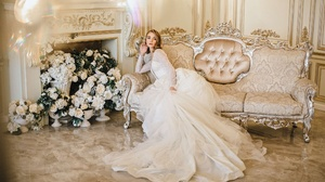 Blonde Bride Dress Flower Girl Sofa Wedding Dress White Dress White Flower Woman 2200x1299 Wallpaper