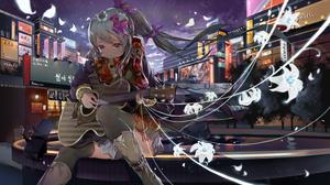 Anime Girls Anime Bodhi Wushushenghua Sitting Guitar Skirt 5760x3240 Wallpaper