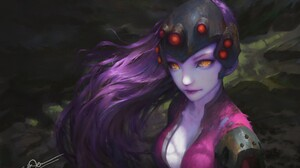 Overwatch Widowmaker Overwatch Anime Girls Purple Hair PC Gaming Long Hair Amelie Lacroix Purple Ski 1920x1365 Wallpaper