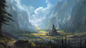 Artwork Digital Art Fantasy Art Castle Mountains 2273x1012 Wallpaper
