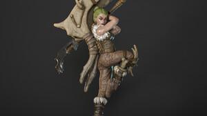 Martin Nikolov ArtStation Artwork Simple Background Fantasy Girl Green Hair Weapon Statue 2000x2000 Wallpaper