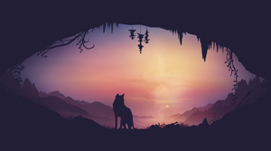 Louis Coyle Fantasy Art Digital Art Ultra Wide Gradient Landscape Mountains Sunrise Illustration Vec 3440x1440 Wallpaper