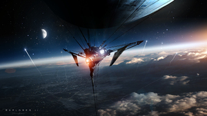 Planet Sci Fi Ship Space Spaceship 1920x1108 Wallpaper