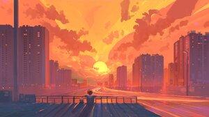 Artwork Sunset City Building 2048x1152 Wallpaper
