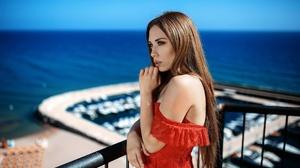 Woman Girl Long Hair Brunette Depth Of Field Red Dress Blue Eyes 2048x1365 wallpaper