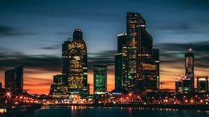 City Night Building Skyscraper Russia 5988x3992 Wallpaper