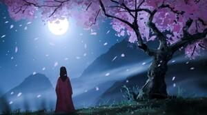 Moon Night Tree 1920x1080 Wallpaper