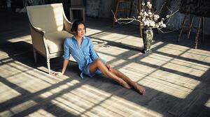 Women Sitting Sergey Fat On The Floor Red Nails Blue Dress Brunette Barefoot Alisa Makeeva 1920x1200 Wallpaper