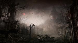 Dark Diablo Iii Gothic Raven Town 6000x2903 Wallpaper