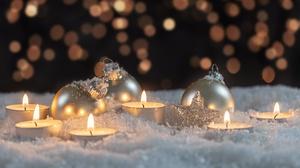 Bokeh Candle Christmas Ornaments Winter 6000x3675 Wallpaper