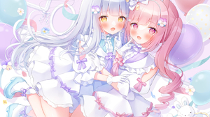 Anime Anime Girls Two Women Yellow Eyes Pink Hair Pink Eyes Aqua Hair Looking At Viewer 1607x1299 Wallpaper