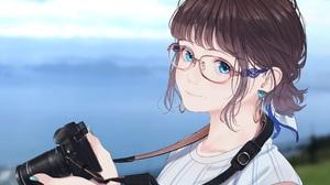 Anime Anime Girls Glasses Blue Eyes Brunette Photographer Wristwatch Clouds Earring Camera Saitou 2177x1631 Wallpaper
