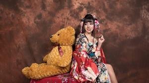 Asian Brunette Girl Kimono Model Smile Stuffed Animal Teddy Bear Woman 3035x1707 Wallpaper