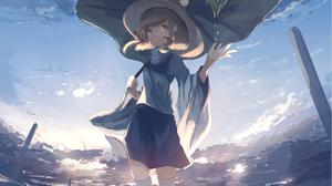 Girl Hat Leaf Short Hair Skirt Suwako Moriya Thigh Highs 2499x1530 Wallpaper