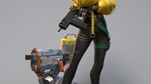 Women Weapon Science Fiction Women Science Fiction 3D Render CGi Standing Gray Background Simple Bac 1920x2347 Wallpaper