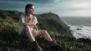 Women Ksenia Kokoreva Blonde Sitting Sea Shoes Women Outdoors Looking Away Yuriy Lyamin 2048x1280 Wallpaper
