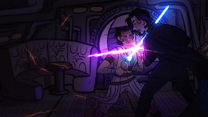 Kylo Ren Lightsaber Rey Star Wars Star Wars Star Wars Episode Vii The Force Awakens 3840x1920 Wallpaper