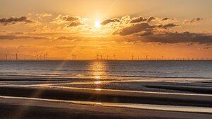 Liverpool England Sunset Windmill Coast 4096x2661 Wallpaper